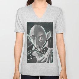 creepy spooky nosferatu Unisex V-Neck