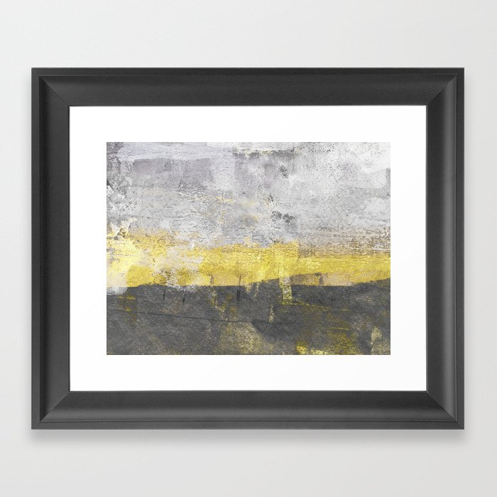 Yellow and Grey Abstract Painting - Horizontal Gerahmter Kunstdruck