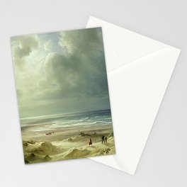 'The Last Days of Summer' coastal landscape painting by Christian Ernst Bernhard Morgenstern Stationery Cards