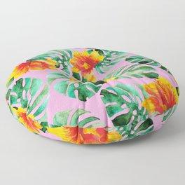 Tropical Monstera Bloom Floor Pillow