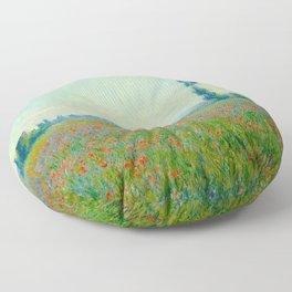 Claude Monet Impressionist Landscape Oil Painting Poppy Field Floor Pillow