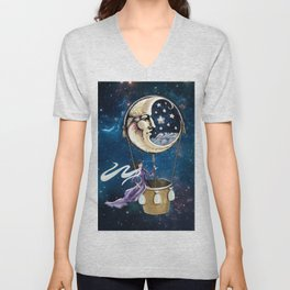 Vintage hot air ballon in a starry galaxy night sky Unisex V-Neck