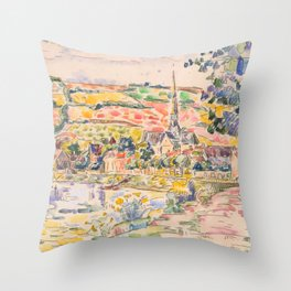 "Paul Signac ""Petit Andely-The River Bank"" Throw Pillow"