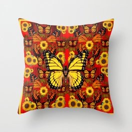 COFFEE BROWN MONARCH BUTTERFLY SUNFLOWERS Throw Pillow