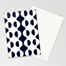 GROOVY RETRO WAVY NAVY AND WHITE STRIPES Stationery Cards