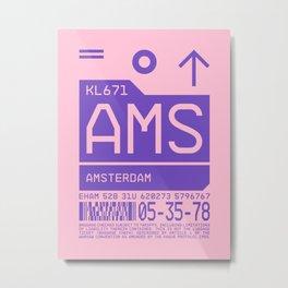 Baggage Tag C - AMS Amsterdam Schiphol Netherlands Metal Print