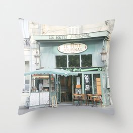 Le Petit Journal: a cafe in Paris Throw Pillow