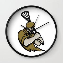 Commando Lacrosse Mascot Wall Clock