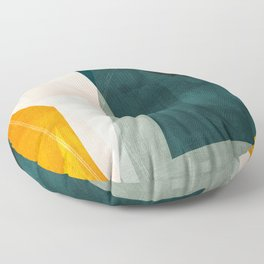 mid century shapes abstract painting 3 Floor Pillow