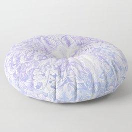 Pastel Purple Hiding Fox Drawing Floor Pillow
