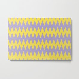 Zigzag Line Pattern Color of the Year 2021 Illuminating 13-0647 Yellow and Lavender 15-3817 Purple Metal Print