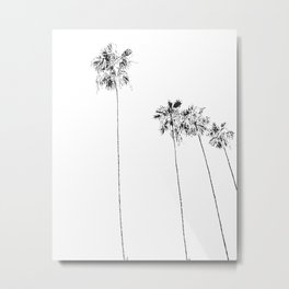 Minimal Black and White Palm Trees Metal Print