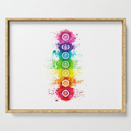 Seven Chakra Watercolor With Symbols - 01 Vertical Serving Tray