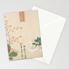 Japanese Botanical Ink and Brush Painting, Hand Drawing Flowers and Calligraphy Stationery Cards