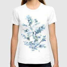 blue fresh leaves plant art T-shirt