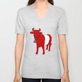 Stripe Swiss Cow Unisex V-Neck