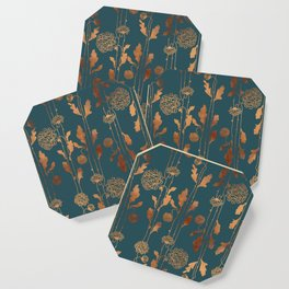 Art Deco Copper Flowers  Coaster