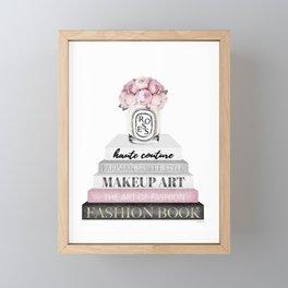 Blush, Pink, Fashion books, Peony, Peonies, Pink and Gray, Gray, Books, Fashion books, Fashion Framed Mini Art Print