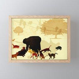 Cat feeders - human urban landscape Framed Mini Art Print