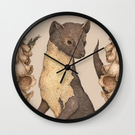 The Marten and Foxglove Wall Clock