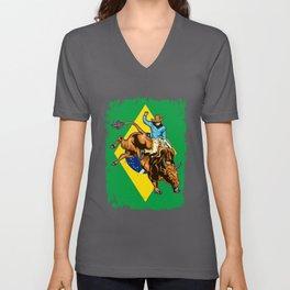 Brazilian Cowboy Rodeo Brazil Bull Rider Gift design Unisex V-Neck