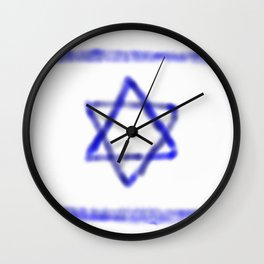 flag of israel with cloudy colors Wall Clock