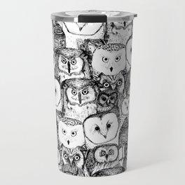 just owls black white Travel Mug