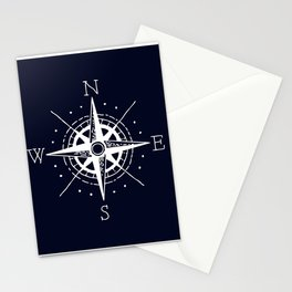 Navy Nautical - White Compass Stationery Cards
