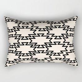 Southwest Azteca - Geometric Pattern in Black and Almond Cream Rectangular Pillow