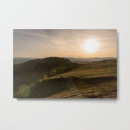 People standing on green grassy hill Metal Print