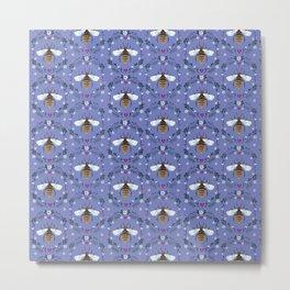 Folk Honey Bee Pattern on Cornflower Blue Metal Print