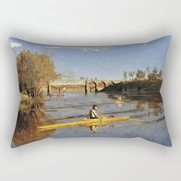 Thomas Cowperthwait Eakins - The Champion Single Sculls, Max Schmitt in a Single Scull Rectangular Pillow
