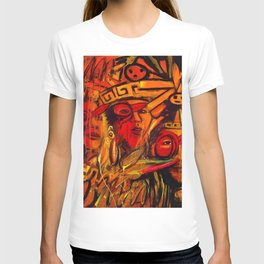 Indigenous Inca Tribes People portrait painting by Ortega Maila T-shirt