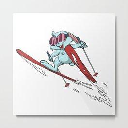 Bunny ski flying Metal Print