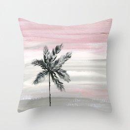 palm tree silhouette mauve sunset sky Throw Pillow