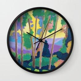 Trees at Sunrise Wall Clock