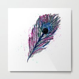 Watercolour Peacock Feather Metal Print