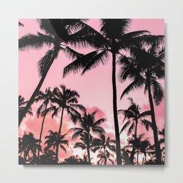 Tropical Trees Silhouette Metal Print