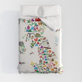 Animal Map of Great Britain & NI for children and kids Duvet Cover