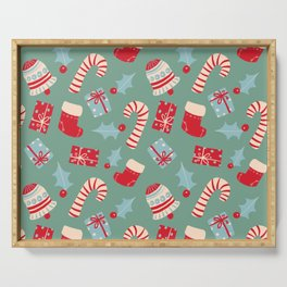 Scandinavian Christmas pattern digital illustration  Serving Tray