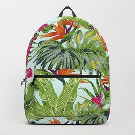 Bird of Paradise Greenery Aloha Hawaiiana Rainforest Tropical Leaves Floral Pattern Backpack