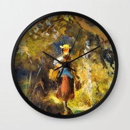 Girl With Basket - Carl Spitzweg Wall Clock