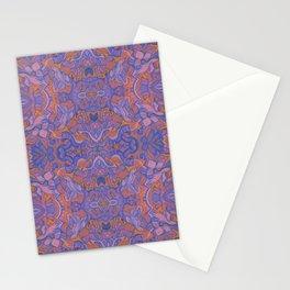 Birds Arabesque, Bohemian Pattern, Cobalt Rose Mauve Stationery Cards
