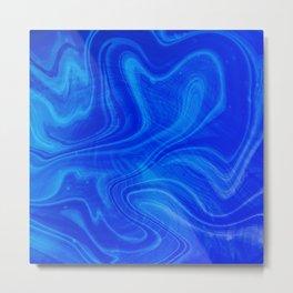 Royal Blue Swirl Marble Metal Print