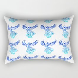 Rising From The Ashes Phoenix Blue Aqua Ombre Rectangular Pillow