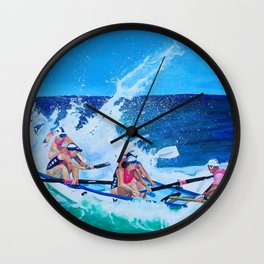 Surf Boat Rowers Wall Clock
