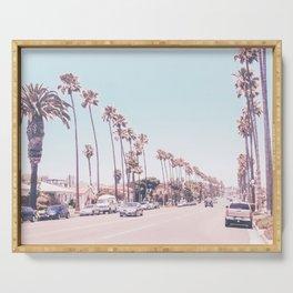 California Sidewalks // Blue Ocean Skyline Roadside Palm Trees Tropical Hollywood Paradise Serving Tray