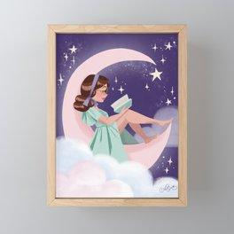 Reading on the Moon Framed Mini Art Print