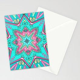 Eyes & Heart Mandala in Aqua & Hot Pink Stationery Cards