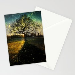 Magical fireflies dreamy landscape Stationery Cards